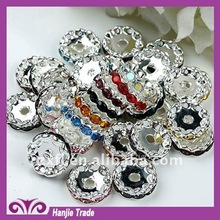 Bulk Rhinestone Rondelle Spacers Beads in Silver