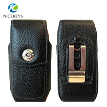 Leather Holster wasit Universal vertical metal Clip Phone Case