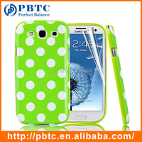 Set Screen Protector And Case For Samsung Galaxy S3 I9300 , Dot Pattern Hard Gel TPU Mobile Phone Case
