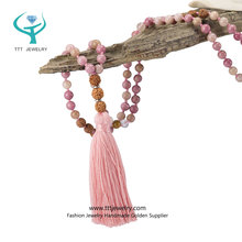 Prayer Bracelet or Necklace Wrap by Ruby Mala Beads for Buddha or Yoga Meditation with Pliant Tassel