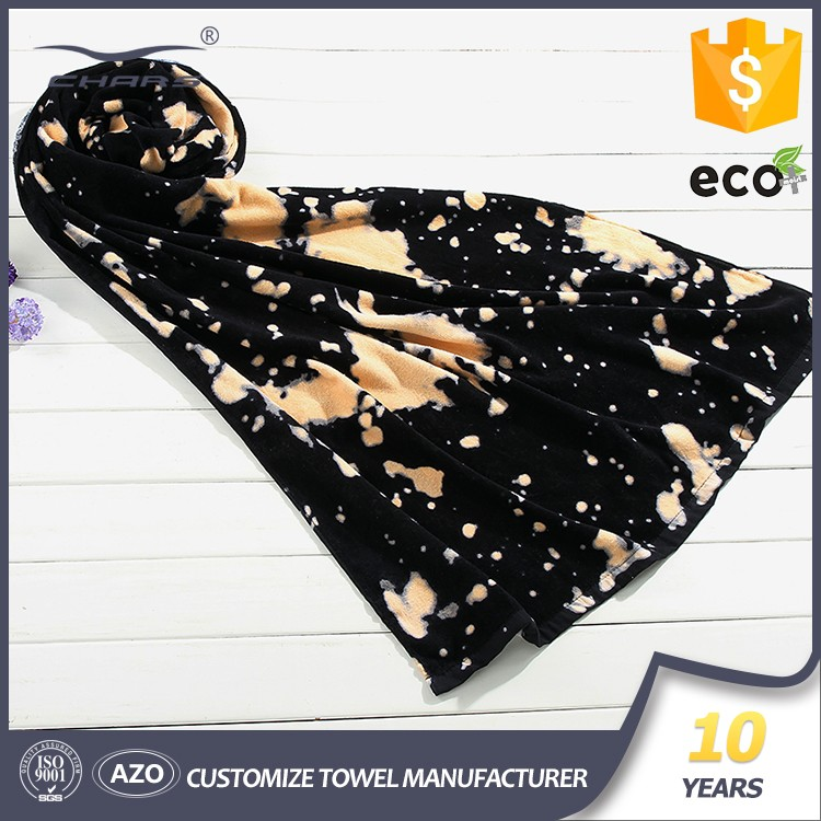 SGS,AZO 2016 new design cotton reactive printed logo 300 gsm promotional digital printing beach towel