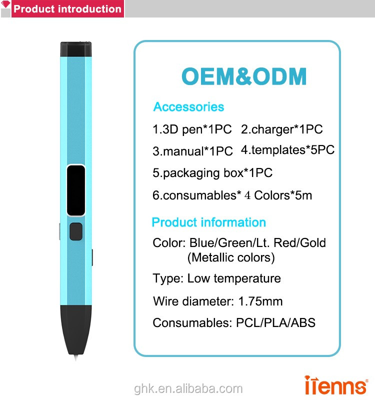 itenns New popular design VM02 3D pen with PCL printing material