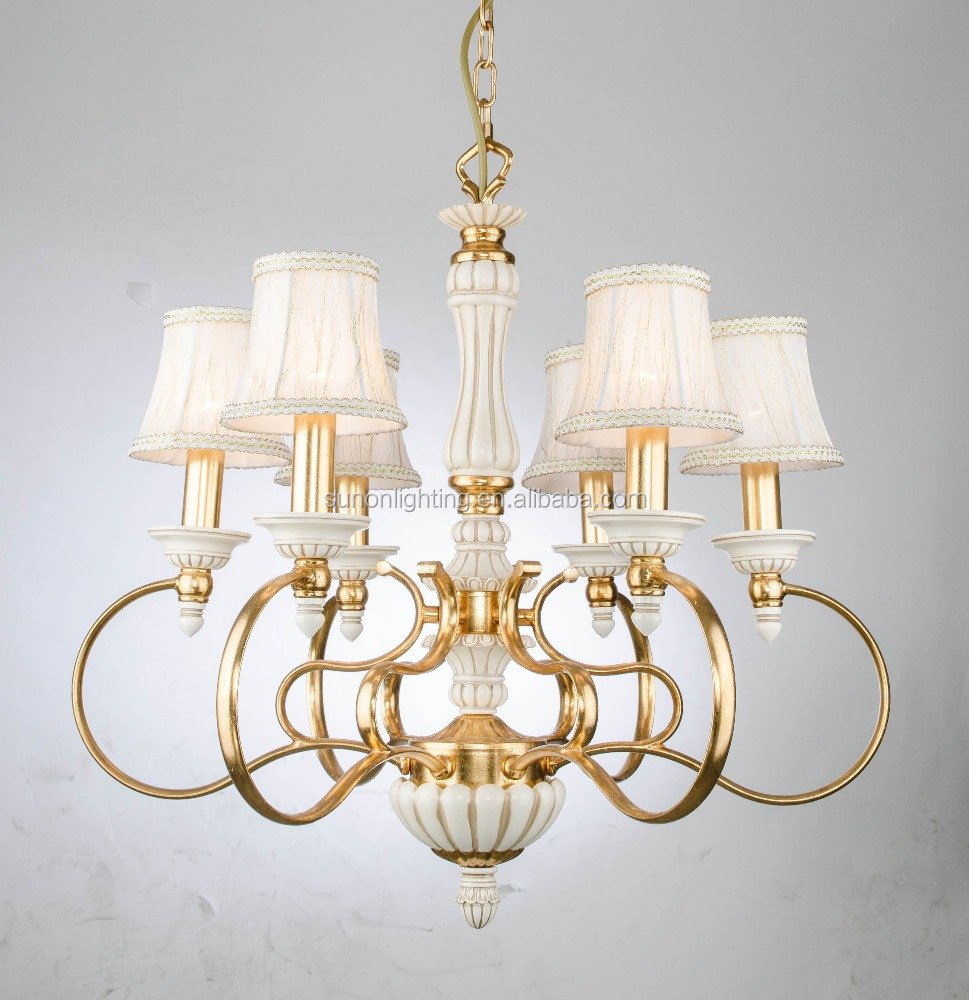 Middle east top sale golden foiled fabric shade chandelier