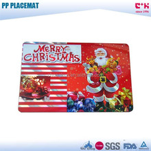 2017 Christmas Santa Claus/gifts printing 3D PP plastic frosted placemat/table dinning plate mat