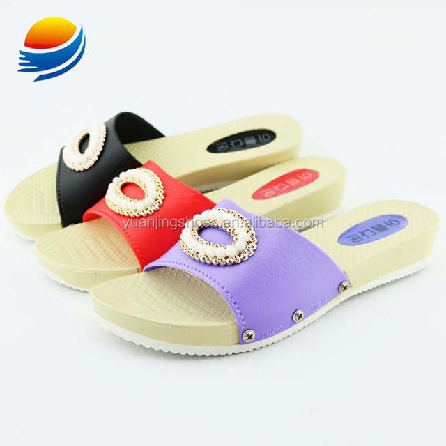 Factory Direct Sale Korea Style Slide Heeled Slippers for Women Vendor 1J418+5W