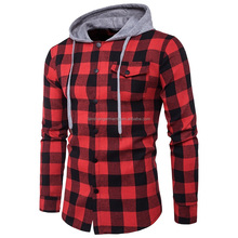 Man thick flannel shirt with hooded