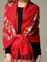 Wool Embroidery Plain Flowers Scarf