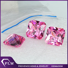 Square shape cz gems wholesale price pink zircon stone for rings