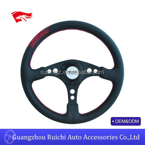Steering Wheel Flat Dish Suede Leather Classic Horn with Embroided Letters