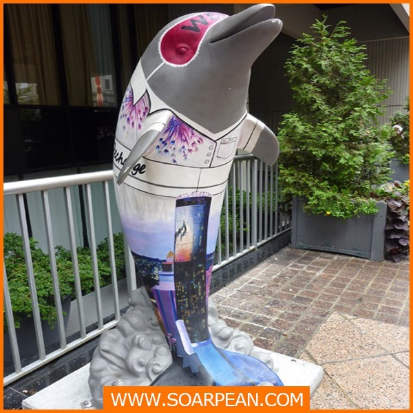 FRP Large decorative Fiberglass Dolphin Statue