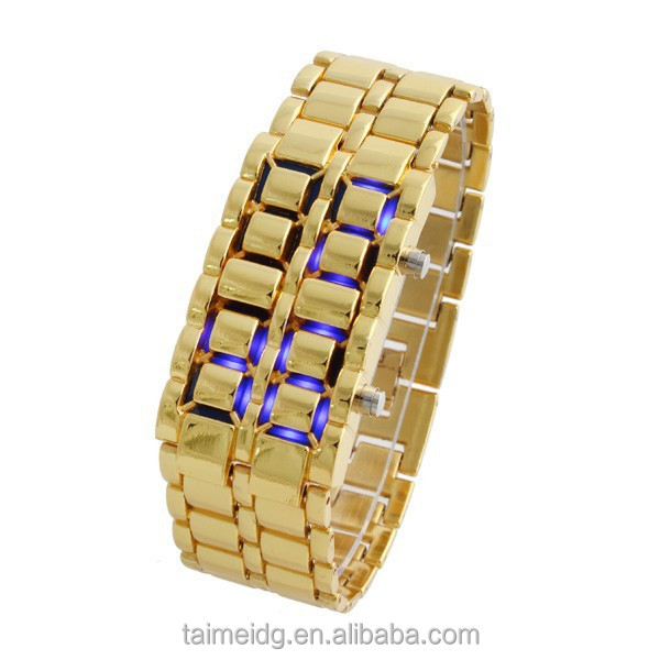 China Manufacturer iron new fashion samurai blue led watch