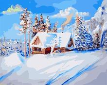 snow village landscape painting by numbers GX6651 painting paint boy EN71-123,CE