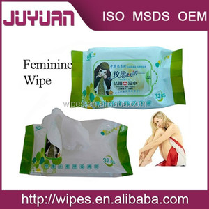 Antibacterial feminine cleaning wet wipes for travel