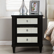 bedroom furniture MDF antique handmade mirrored nightstands with 3 drawers