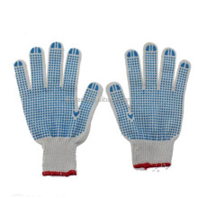 10 Gauge Bleached and PVC Dotted White Cotton Knitted Working Gloves