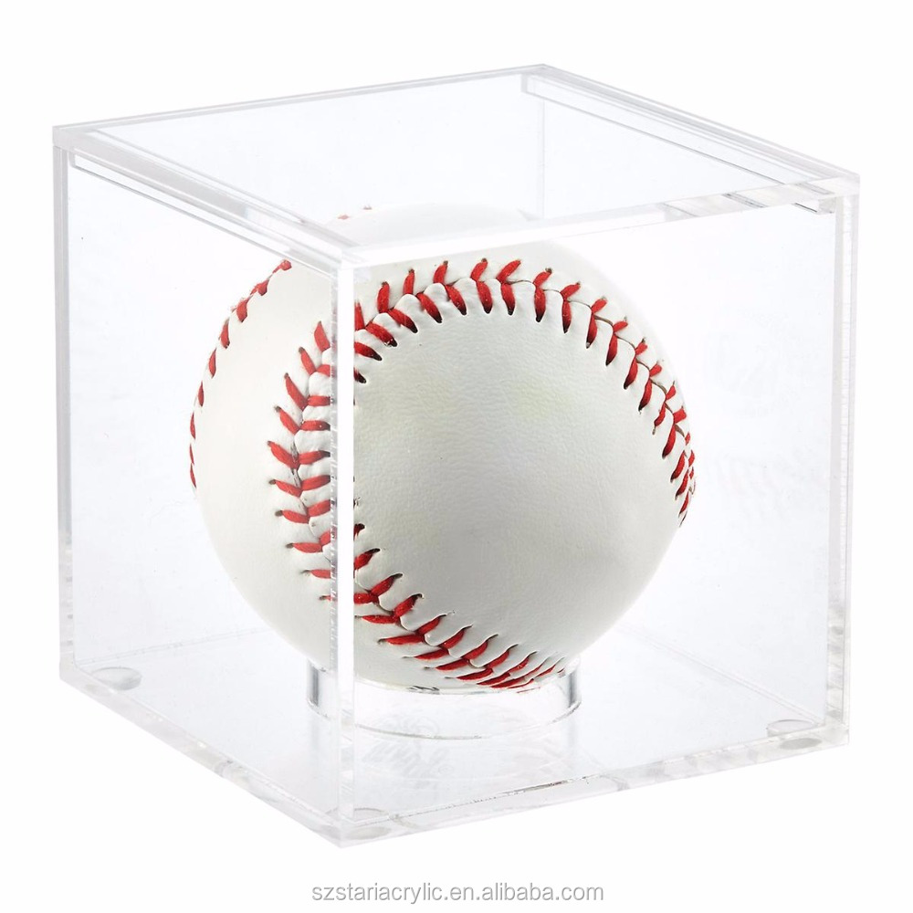 Transparent Acrylic Baseball Display Cube Box Acrylic Tennis Ball Display Case