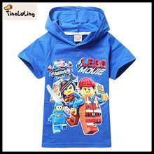 2015 new short sleeve lego movie girls organic cotton red and blue t shirts