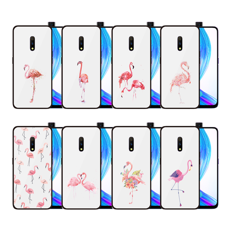 Cartoon Flamingo Tempered Glass Case for OPPO Realme <strong>X</strong> Lite Realm 3 <strong>Pro</strong> 1 Anti-Scratch Fingerprint Drop Cover