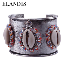 E-ELANDIS Handmade Silver Oxide Plated Three Shell Cuff Bracelet from Yiwu