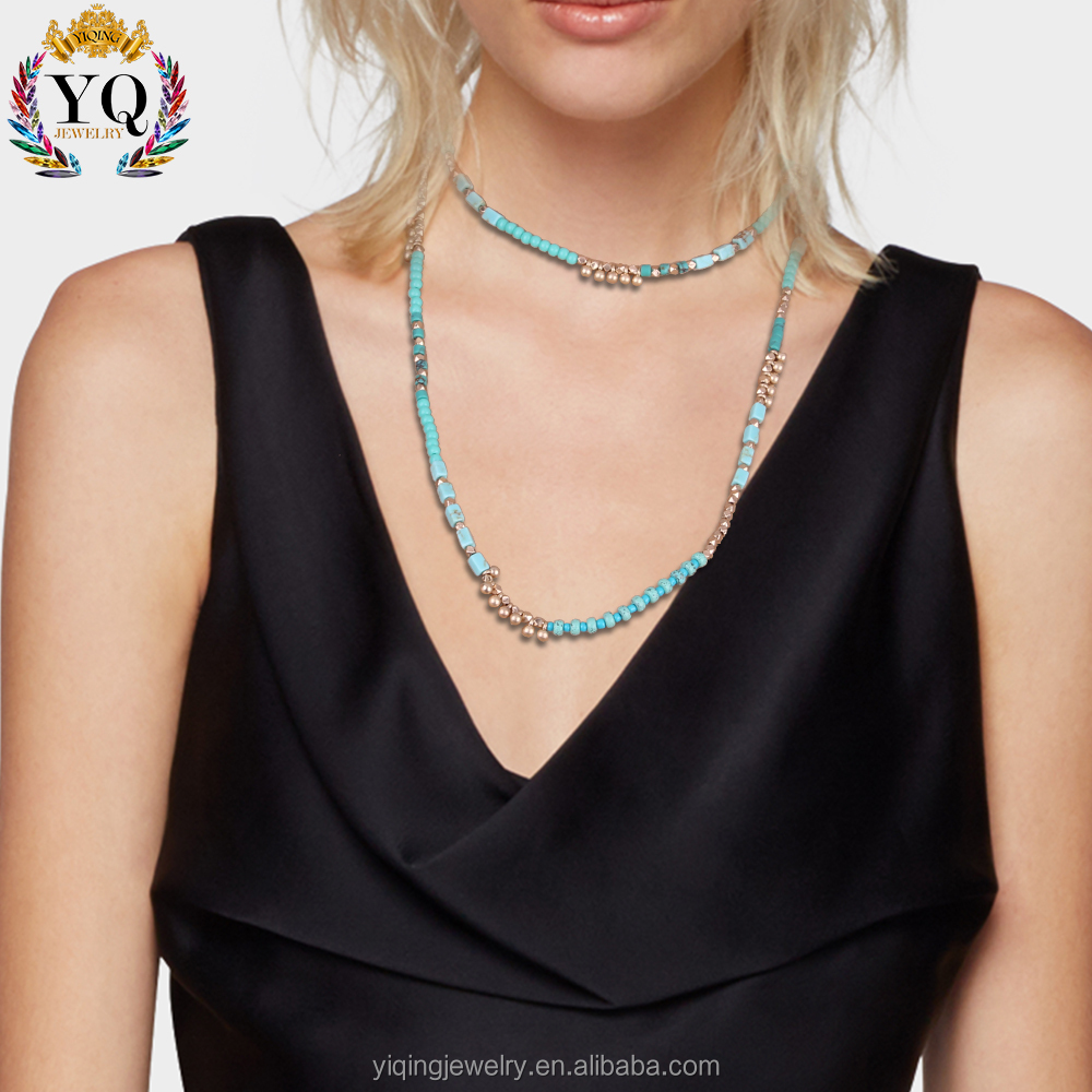 NYQ-00887 best selling delicate turquoise fancy long chain necklace for women