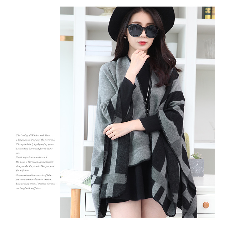 wholesale alibaba New fashion Autumn winter warm wool scarf double sided cashmere shawl Gray Color Big size shawl scarf factory