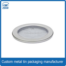 Customized round gift tin for CD/DVD packaging metal CD/DVD storage tin box with window