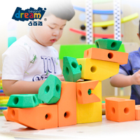 EVA Customized Create Wholesale Quality Assurance Colourful eva foam building blocks educational assembly foam house toy