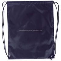 Hot Recyclable custom cheap 190T polyester drawstring shoe bag with carry tab