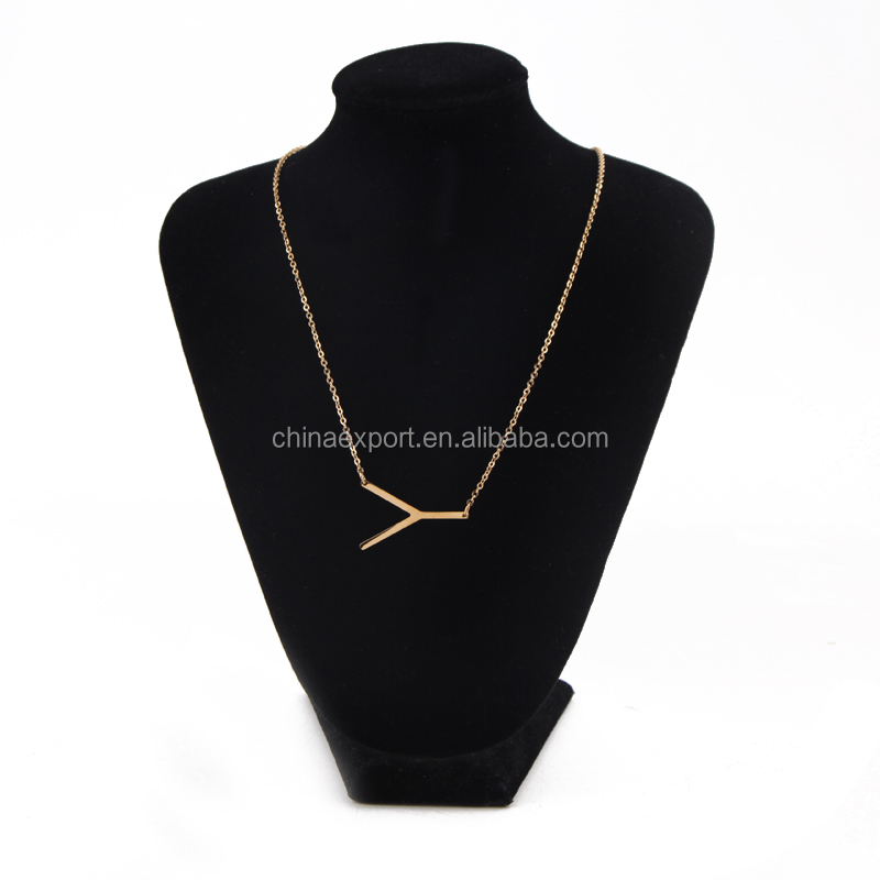 Woman Jewellery Letter Y Pendant 50cm Length Gold Necklace