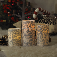 "Amber Glow Flameless LED Wax Candles With Christmas Star/Lollipop Pattern--Set of 3(3""x4"",3""x5"",3""x6"")"