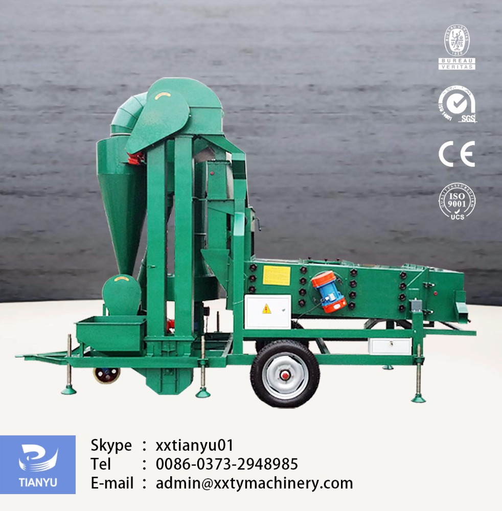 Tianyu Machinery stable performance 5XZC-5HC movable grain cleaner with Skype:xxtianyu002