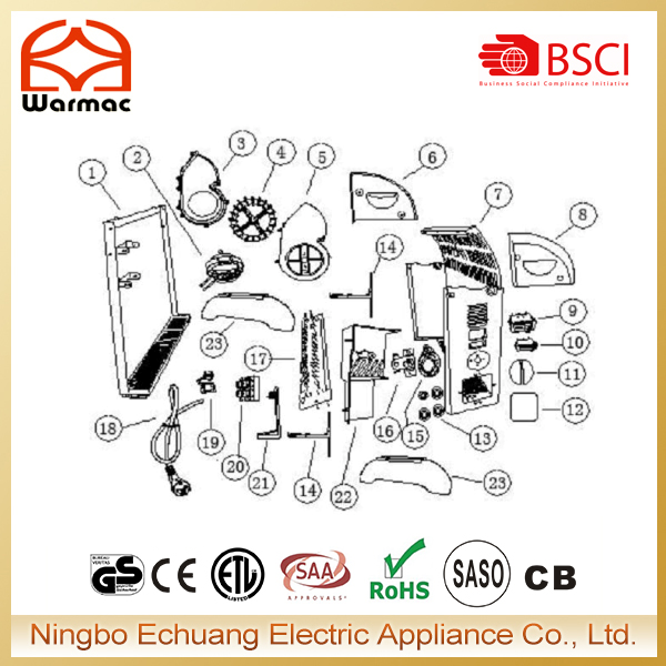 Electric convector heater spare parts including thermostat,switch,heating element,motor,housing,etc.