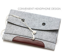 "Leather & Wool Felt Sleeve for Macbook 11""/13""/15"""