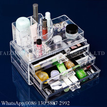Wholesale Durable Clear Acrylic Cosmetic Makeup Organizer Storage Box With 3 Drawers Display Box