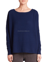 loose square neck navy blue cashmere knit sweaters for ladies