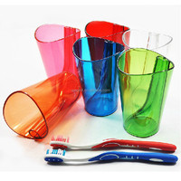 2 in 1 Unique Design Antiscale Healthly Bathroom Tooth Mug Cup Plastic Transparent Toothbrush Holder Cup For Teeth Cleaning
