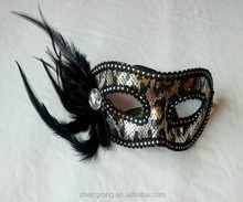 2015 Beatiful Black feather Party Eye Mask