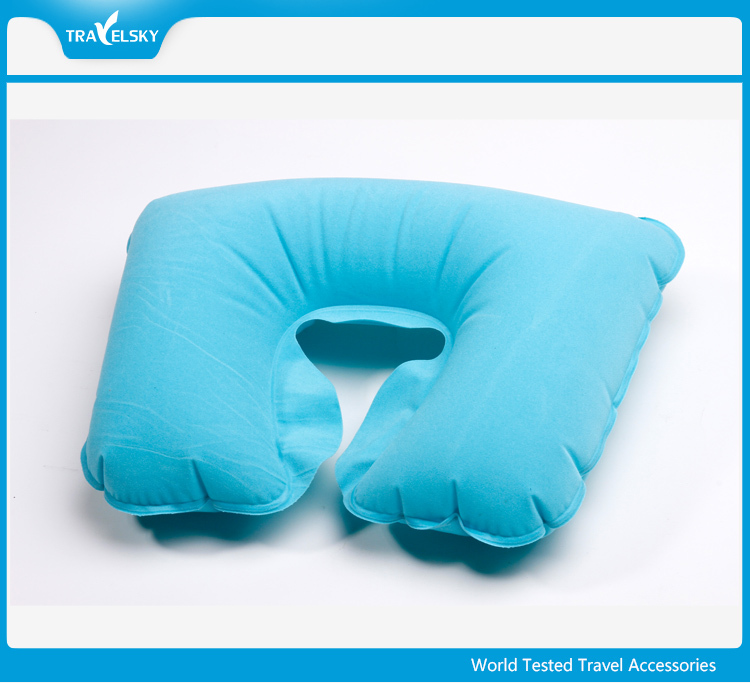 13031 Flocked PVC inflatable travel neck pillow