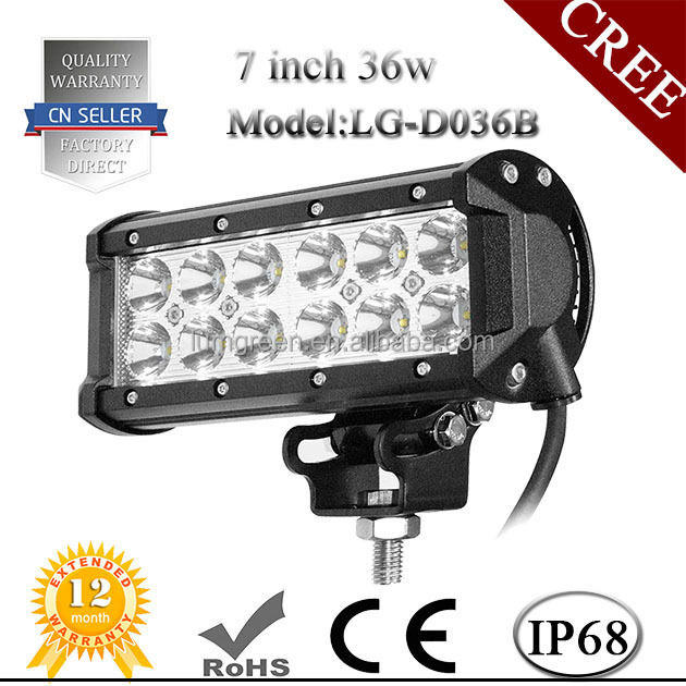 IP68 Waterproof Work Light , 7Inch LED Bar Lights, 36W Offroad LED Light Bar For Boat Motorcycle 4x4 4WD