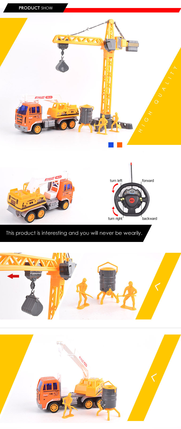 best selling 4ch construction toys truck plastic rc model crane for boys