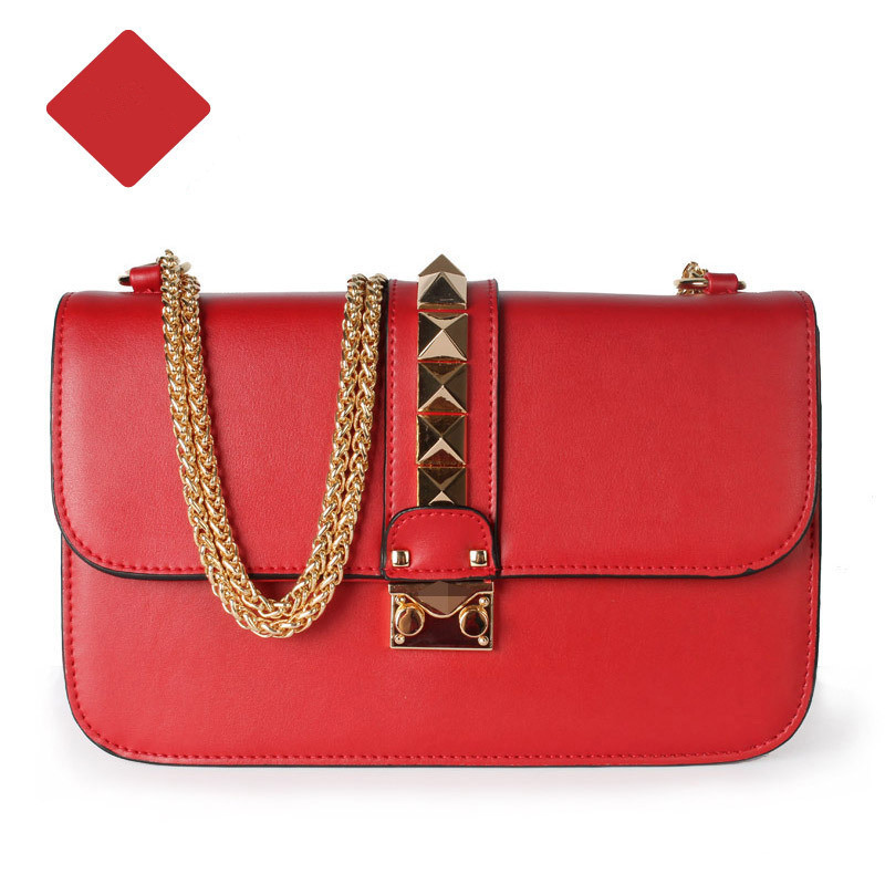New 2015 Genuine Leather Brand Women Designer Handbag Fashion Rivet Chain Bag Leather Bags Messenger Bags Valentine Bags Women