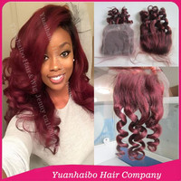 "Stock Top Quality! 3.5""*4"" #99j loose wave brazilian remy hair burgundy lace closure free parts"