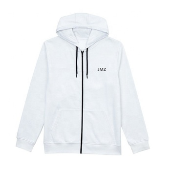Mens wholesale customized casual design high quality plain white zipped up long sleeve hoodie