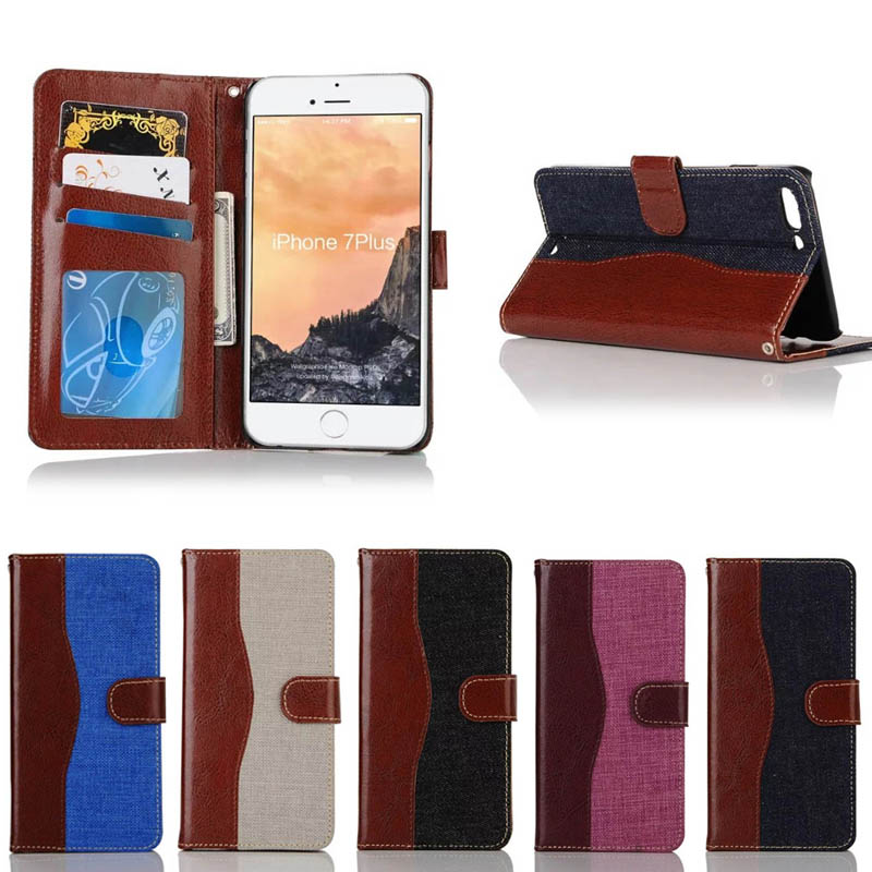 Color Blocking Jeans Pattern Leather Case for iphone 7/8