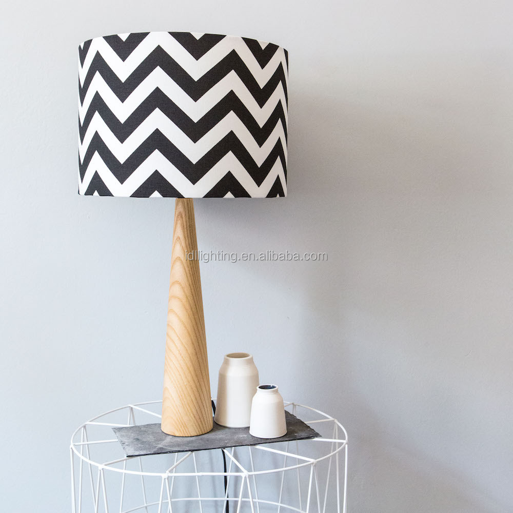 children lighting fabric shade desk lamp solid wood stand table lamp
