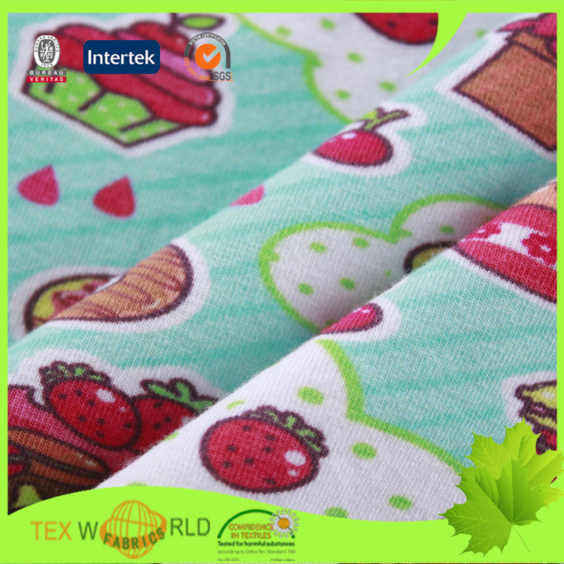 Children baby clothing cotton lycra single jersy printed for Cotton fabric for children s clothes