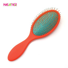 Rubber finishing detangling detangler wet dry bristle custom plastic hair brush