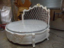 Antique Style Bisini Luxury King Size Wooden Round Bed