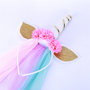 2018 New Design flower Headband Hair Accessories DIY Little Pony Unicorn Party headbands For Kids Girl