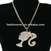 OVERSIZED Gold CRYSTAL Ponytail Head Silhouette BLING Chain NECKLACE